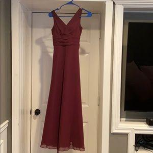 David's bridal junior bridesmaid dress WINE color